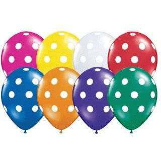 12 Polka Dot Balloons Bright Festive Colors Party Blue Green Pink and
