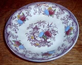 Antique Mulberry Transferware Florilla Cup & Saucer Set