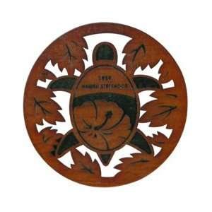Laser Cut Wood Coasters Hibiscus Turtle 50th.