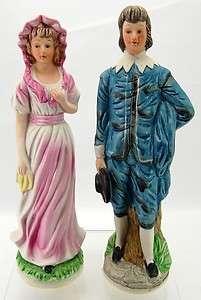 Set 2 Bisque Porcelain Colonial 12 Figurines Man Woman |