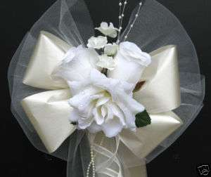 IVORY satin wedding pew bows decorations bouquet flower