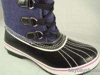 SKECHERS BLACK/NAVY BLUE WATERPROOF BOOT WOMEN ALL SIZE