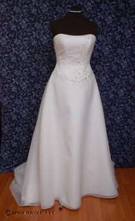 White Organza, Satin, Tulle Beaded Wedding Dress 12 NWOT
