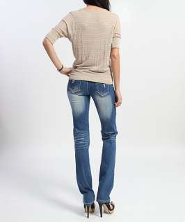 Button Tab DOLMAN SLEEVE TOP Round Neck Slouchy Tee Shirts