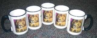 Ceramic Coffee Mug Drinking Cup Lion & Mouse 16 Oz Tall Glass