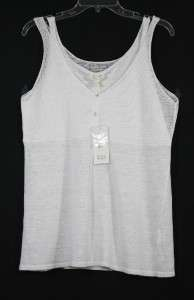 NEW EILEEN FISHER WHITE LINEN TONAL MESH TANK TOP M