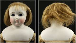 19thC French Pale Bisque Doll w/ Glass Eyes & Kid Leather