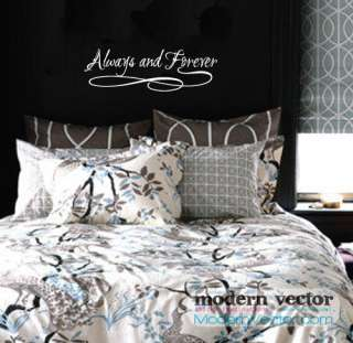 Always and Forever Bedroom Home Vinyl Wall Quote Decal