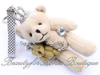 TEDDY BEAR KEY CHAIN CROWN KING QUEEN ROYAL CRYSTAL