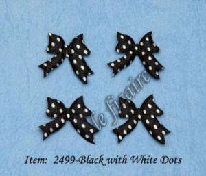 Polka Dots Satin Ribbon Bow Ties Appliques Crafts Black