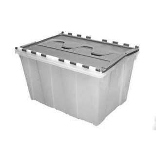 12 Gallon Plastic Gray and Clear Flip Top Storage Tote 17180130 at The
