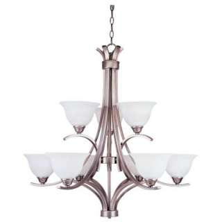Hampton Bay 9 Light Hanging Antique Pewter Chandelier  DISCONTINUED