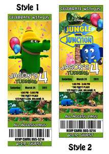 Custom JUNGLE JUNCTION Birthday Party Invitation Ticket
