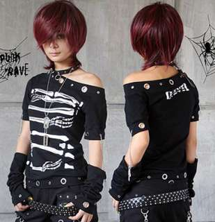 FASHION punk skull visual kei top skull Rock t shirt cool design S M L