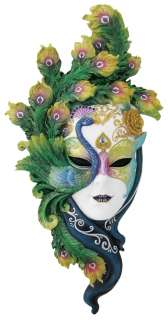 Large Venetian Lady Peacock Mask Carnival Wall Plaque