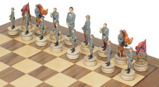 Civil War Theme Chess Set Package w Chessboard Board