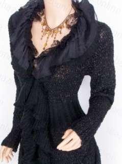 Beautiful Knit Ruffles Collared Lace Cardigan Long Sweater Jacket