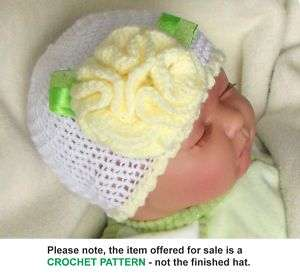 CROCHET PATTERN / INSTRUCTION LEAFLET CUTE BABY HAT, multisize   Ref