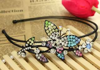 Colorful butterfly flower leaf hairband headband swarovski crystal