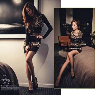 2012 Womens Fashion Leopard Print Lace Trim Party Mini Dress Black