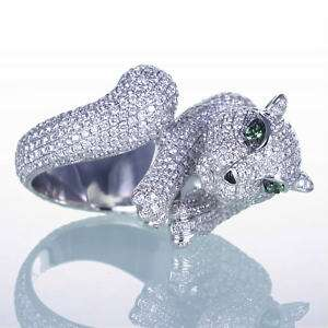 04CT WHITE SOLID GOLD NATURAL PAVE DIAMOND WILD CAT COUGAR JAGUAR RING
