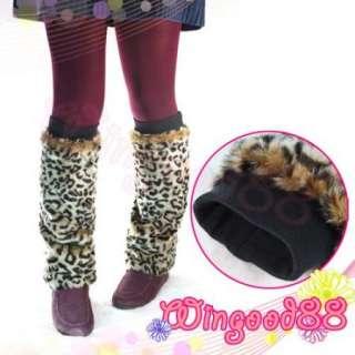Fashion Women Lady Leopard Faux Fur Leg Warmers Muffs Boot Socks