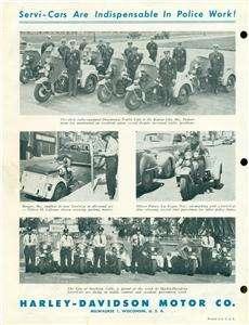 Vintage 1930s HARLEY DAVIDSON Servi Cars~POLICE MOTORCYCLE~Orig