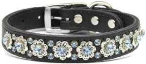 Fancy Jeweled Flower Black Leather Pet Dog Collar