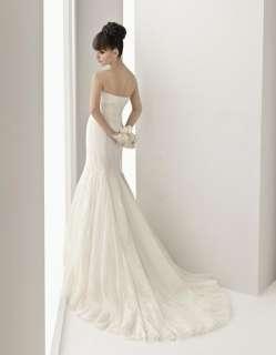 Noble Elegant Slinky Wedding Dress Bride Ball Gown Size 6 8 10 12 14
