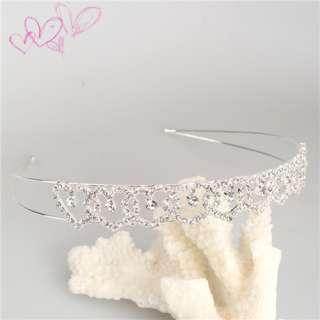 Elegant Peach Heart Rhinestone Hair Band Headband Hoop Tiara