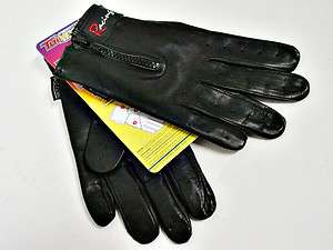 Driving Gloves Black Leather Racing Glove Zip Close Medium Motorcycle