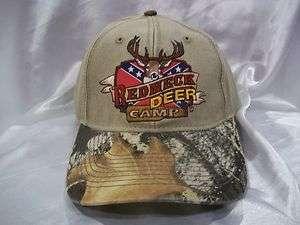 NEW REBEL REDNECK DEER CAMP HUNTER / HUNTING BALL CAP HAT BEIGE & CAMO