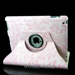 iPad 2 Leather Smart Case Cover W/ Stand Pink Flower