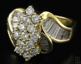 18K GOLD FANCY EXQUISITE 2.71CT DIAMOND CLUSTER COCKTAIL RING SIZE 6.5