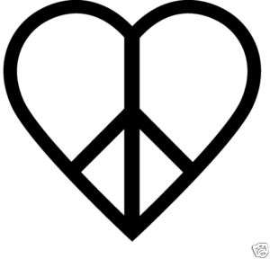 Stickers Decals Heart with a peace sign inside Cute