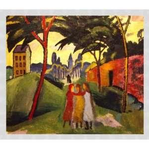 Bild mit Rahmen: August Macke, Landschaft mit drei Mädchen, 70 x 60