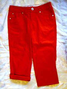 NEW JUSTICE RED ROLL CUFF BERMUDA SHORTS GIRLS SIZE 7
