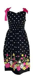 BONNIE JEAN BLACK WHITE PINK BUTTERFLY DRESS SZ 7 14
