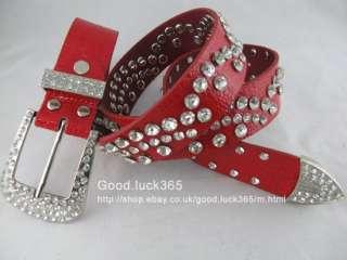 here good luck365 red women rhinestone buckle genuine leather belt