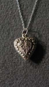 ANTIQUE STERLING SILVER FANCY ETCHED PUFFED HEART PENDANT CHARM