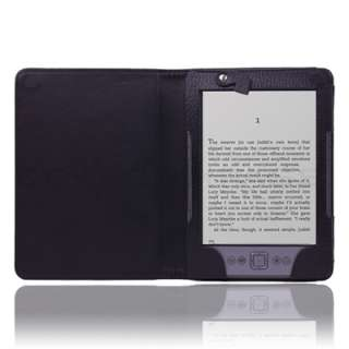 Kindle 4 4TH 4 Gen LED Light Lighted Leather Case Cover Black