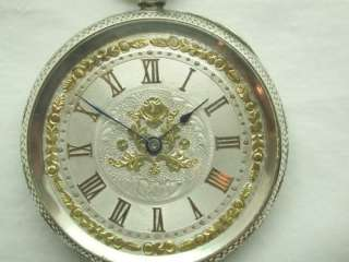 VICTORIAN LADIES FANCY SILVER POCKET WATCH WITH GOLD & SILVER DIAL