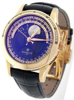 Perrelet A3013/A0063 Moon Phase Automatic Date 18K Gold Diamond Watch
