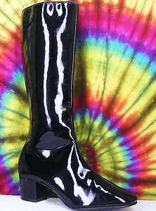 ladies vtg 60s black shiny Corfam JOYCE CALIFORNIA knee high gogo