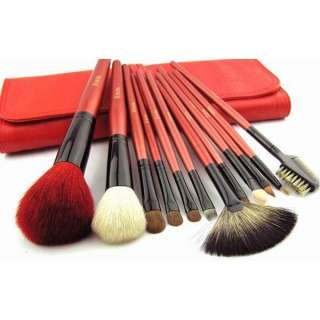 12PCS Red Professional Portable Makeup Brush Travel Set Kit with