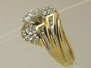 MARQUISE BAGUETTE DIAMOND TWO PIECE SET ENGAGEMENT RING WEDDING BAND