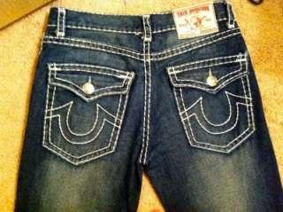 Mens Designer True Religion Jeans Joey W 34 L 33 Thick White Stitch