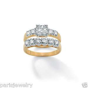 Carat Diamond Round 14k Gold overlay Bridal Ring Set