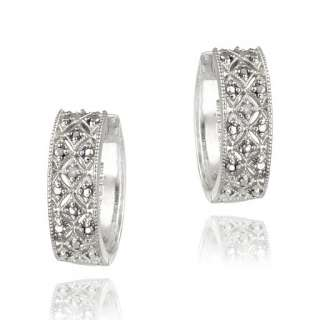 925 Silver Diamond Accent Pave Hoop Earrings