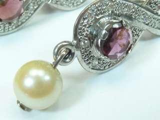 Stunning Vintage 18ct Gold Garnet & Diamond Set Earrings *434